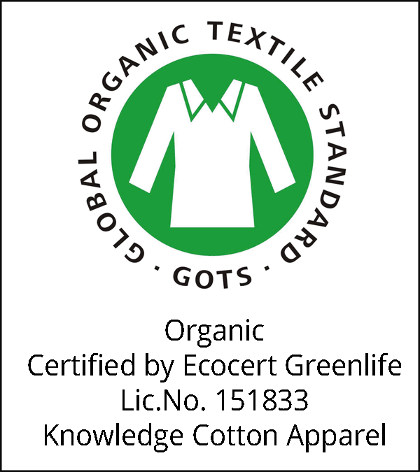 Organic Certified by Ecocert Greenlife Lic.No. 151833 Knowledge Cotton Apparel
