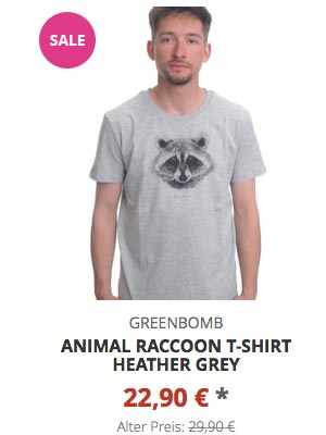 Animal Raccoon T-Shirt heather grey