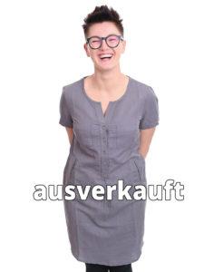 Kleid aus Leinenmix grau