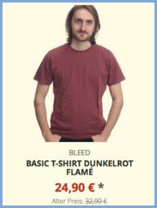 Basic T-Shirt dunkelrot flamé
