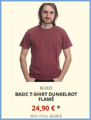 Basic T-Shirt dunkelrot flamé