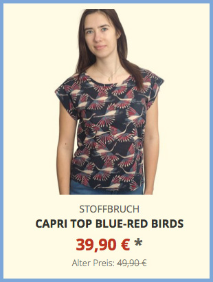 Capri Top blue-red birds