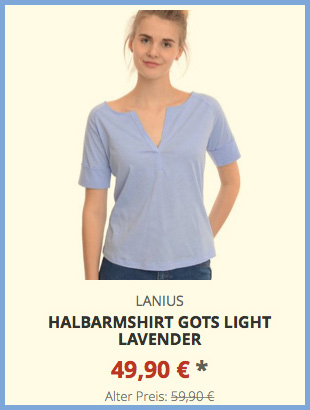 Halbarmshirt GOTS light lavender