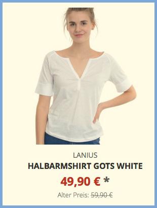 Halbarmshirt GOTS white