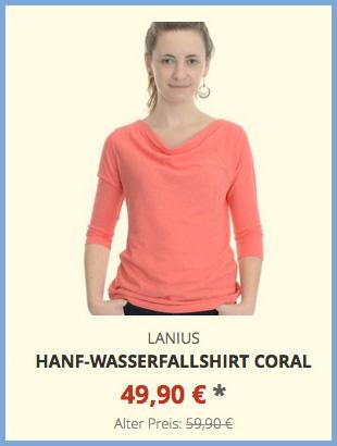 Hanf-Wasserfallshirt coral