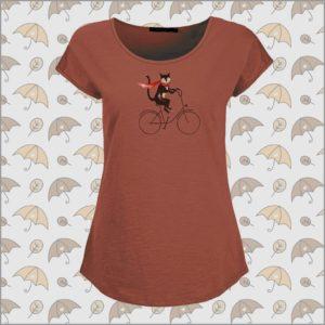 Bike Cat T-Shirt marsala red