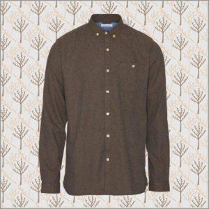 Melange Effect Flannel Shirt - dark earth