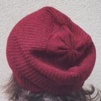 Alpaka-Mütze dunkelrot-meliert