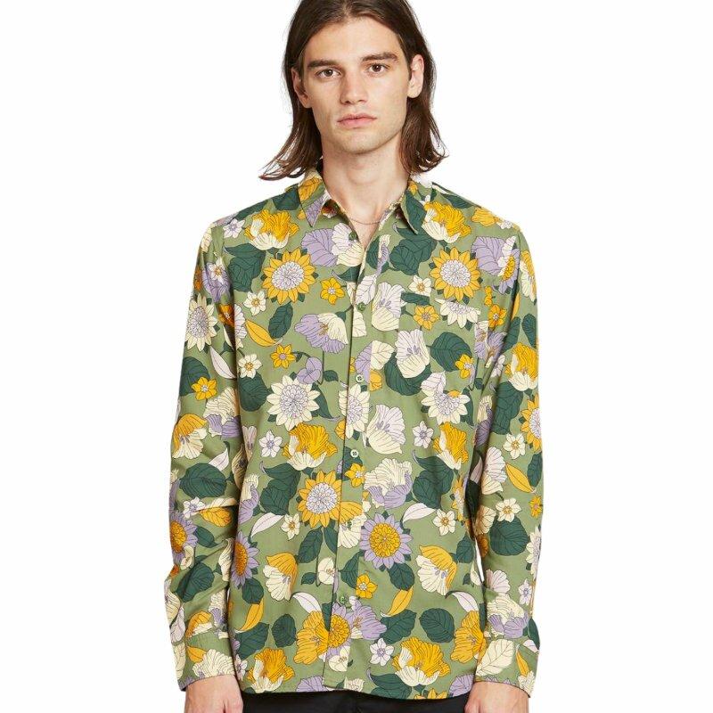Dedicated Varberg Shirt Seventies Floral Green