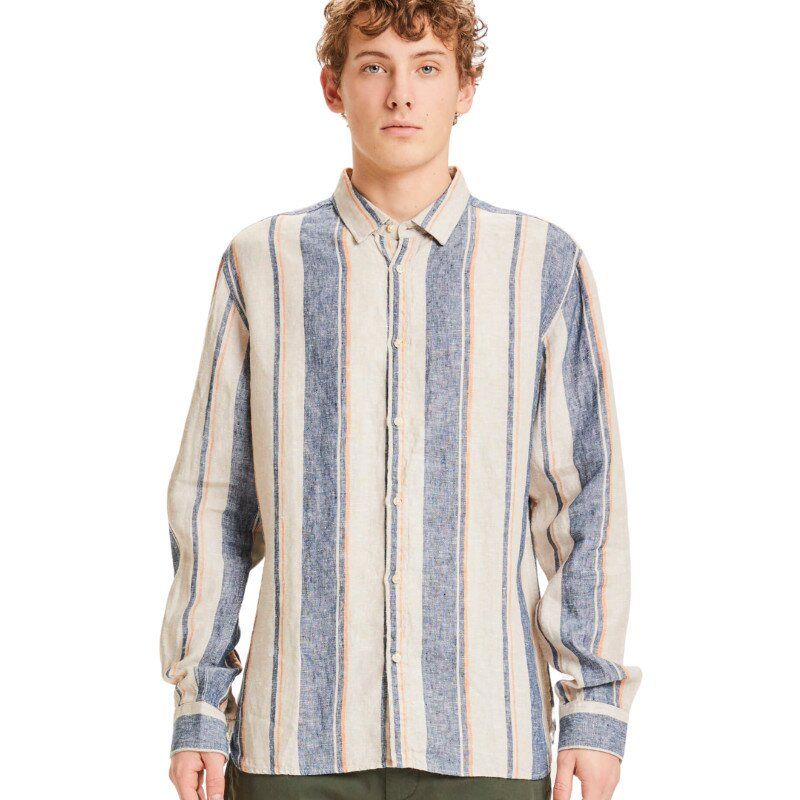 Larch Casual Fit Stiped Linen Shirt Vegan
