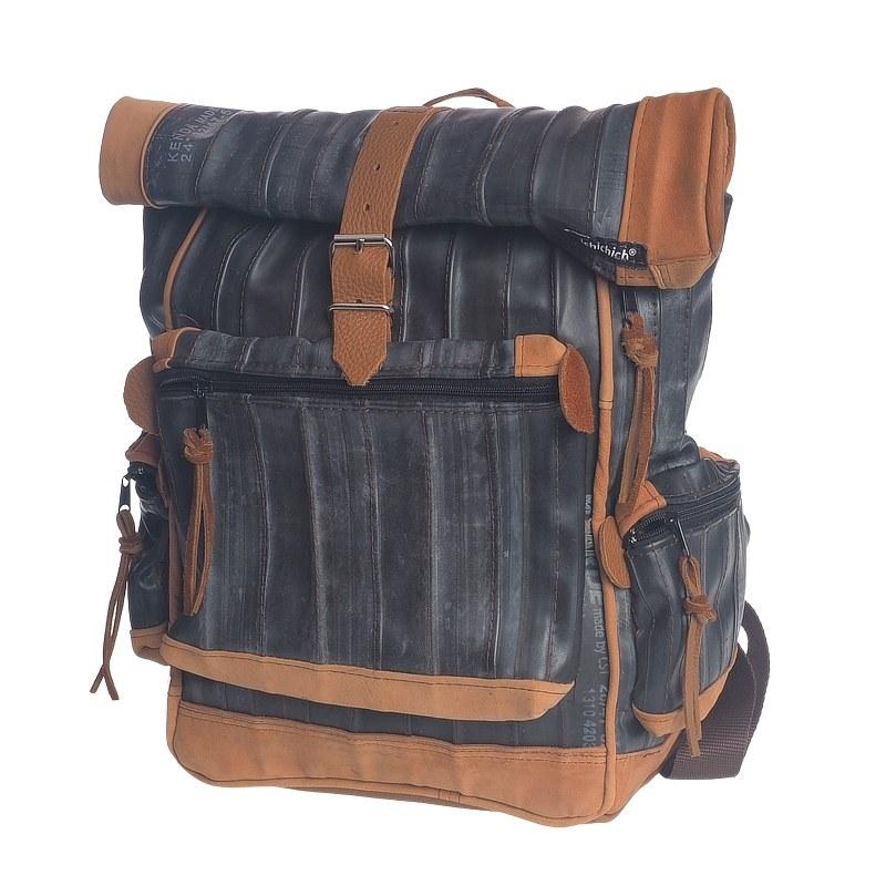 Rucksack aus recyceltem Leder und Fahrradschlauch