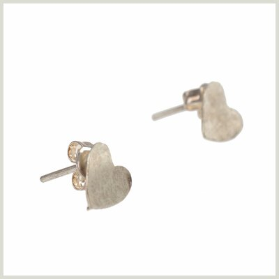 Heart Stud earrings versilbert
