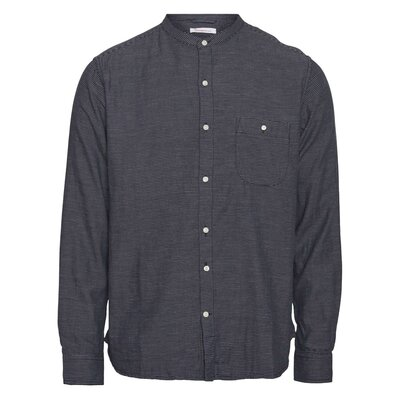 Larch LS striped double layer stand collar Shirt