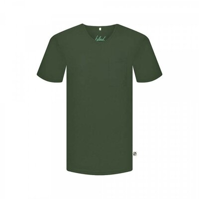 Pocket V-Neck T-Shirt dunkelgrün